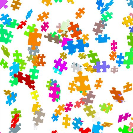 Falling Colored Puzzle Pieces with White Background - JigSaw 写真素材