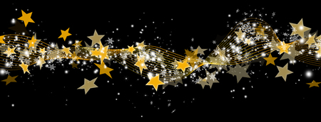 horizontal banner: Abstract Panorama Banner with Golden Starlets and Particles on Black Background. Horizontal Website Head Decoration Template for Christmas Season. Christmas, XMas, X-Mas Stock Photo