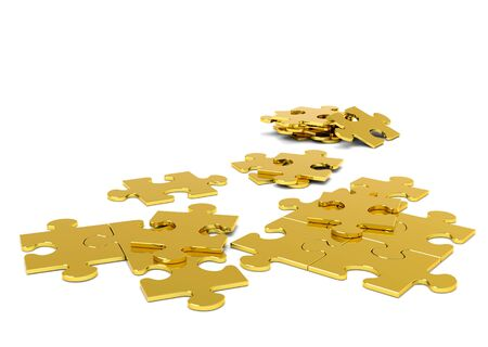 Golden 3D Puzzle Pieces on White Background With Free Space for Your Own Text - JigSaw - Illustration Imagens