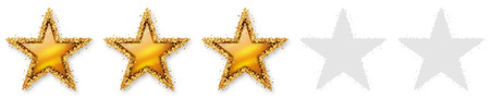 five stars: Five Stars Voting - Third Golden Star - 3, 2rd - Three Point Recension, Rating - Assessment of Value for Websites, Shops, Blog or Forums. With Spangled Golden Starlet Border.