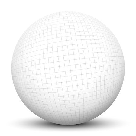 graph paper: 3D Sphere with Checkered Graph Paper Texture and Smooth Shadow on White Background