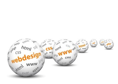 Weiß 3D Kugeln mit Mapped Webdesign Bedingungen Texture - WWW, CSS, HTML, SQL, XML, PHP - auf weißem Hintergrund mit weichen Schatten und Freitext Raum über