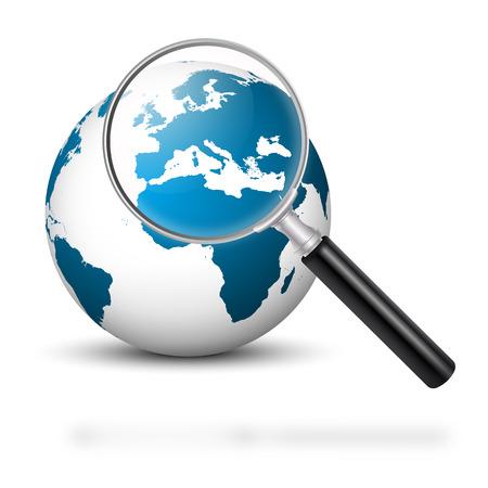 Notre belle planète bleue avec loupe et de couleur bleue Continents - Europe Focus - Planète Terre. Banque d'images - 46477246