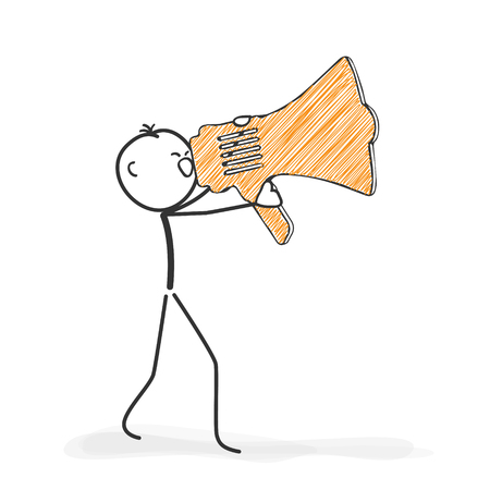 yelling: Stick Figure in Action - Stickman Yelling Into a Megaphone Icon. Stick Man Vector Drawing with White Background and Transparent, Abstract Three Colored Shadow on the Ground. Stock Photo