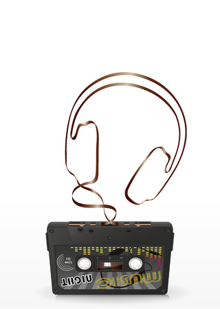 mc: Audio Cassette with Abstract Curved Tape - Headphone Silhouette - on White Background