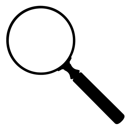 Black and White Magnifying Glass Icon on White Background - Vector Illustration