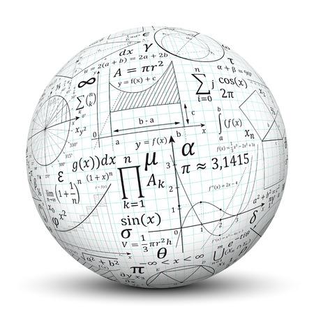 deberes: 3D Esfera blanca con sombra suave y la textura del papel de gráfico y Matemáticas Símbolos - aisladas sobre fondo blanco