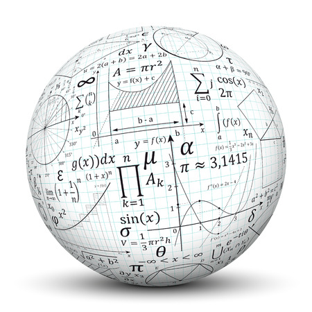 maths: 3D White Sphere with Smooth Shadow and Graph Paper Texture and Math Symbols - Isolated on White Background