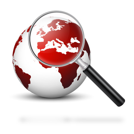 lupa: Globo con Lupa y Red Continentes - Europa en Foco - Europa simbólico en Crisis Financiera y Económica - Apocalypse