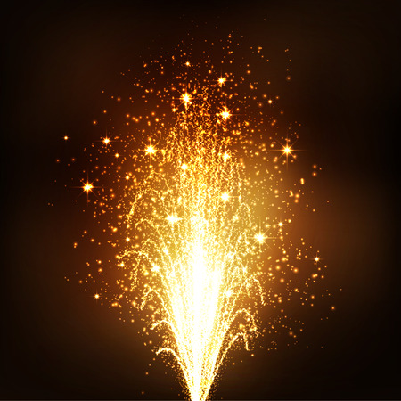 caustic: Golden Fountain - Firework Volcano Emitting Sparks on Dark Brown Background - New Years Eve Celebration Element. Little Fireworks, Pyro, Glistening, Particle Effect.