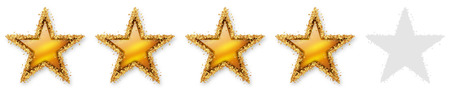 starlet: Five Stars Voting - Fourth Golden Star - 4, 4th - Four Point Recension, Rating - Assessment of Value for Websites, Shops, Blog or Forums. With Spangled Golden Starlet Border. Stock Photo