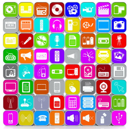 stacked: Stacked and Colored 64 3D Multimedia Icons with Aluminum Frame Arranged in a Square Image Format. Background