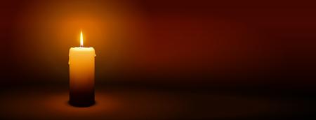 1er dimanche de l'Avent - Première seule bougie à l'atmosphère chaleureuse - chandelles, Panorama, bannière, modèle Site Head Banque d'images - 46477275
