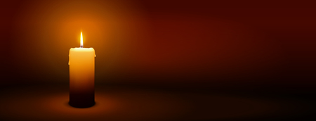 1st Sunday of Advent - First Single Candle with Warm Atmosphere - Candlelight, Panorama, Banner, Website Head Template Çizim