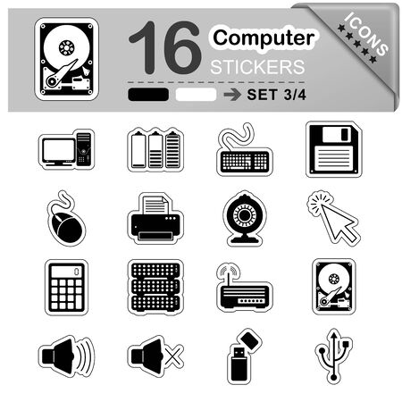 16 Black and White Computer Icons - Stickers - Symbols - Vector Illustration