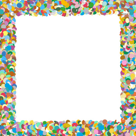 Colorful Squarish Vector Confetti Frame with Free Space for Advertising and Text - Backdrop Template Border - Text Field, White Area - Dots, Points - Particle Design