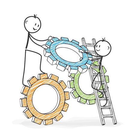 Stick Figure in Action - Stickman helping his colleague. Symbolic Teamwork Gear Wheel Icon. Stick Man Vector Drawing with White Background and Transparent, Abstract Three Colored Shadow on the Ground.