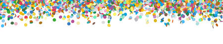 confetti: Very Long Horizontal Vector Panorama Banner with Raining Confetti and Free Space for Design Elements at the Bottom - Dots, Points, Deco, Polka Dots - Backdrop Falling Particle Design - Website Head Illustration