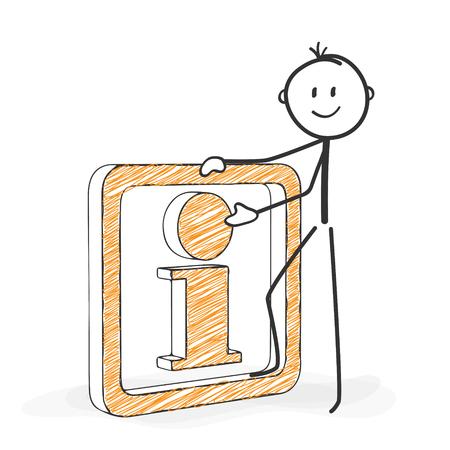 Chiffre de bâton en action - Stickman avec une icône d'information. Stick Man de dessin vectoriel avec un fond blanc et transparent, Abstrait Trois coloré ombre sur le sol. Banque d'images - 46477280