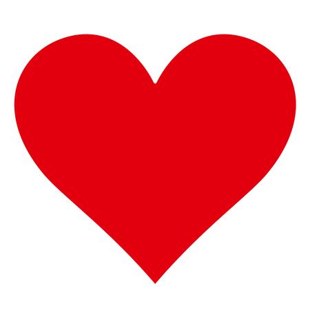Klassische Einfache rote Herz-Silhouette - Form - Icon - Isoliert auf weißem Hintergrund ohne Schatten - Vektor-Illustration
