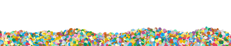 Very Long Horizontal Vector Panorama Banner with Confetti Heap on the Ground and Free Space for Design Elements - Dots, Points, Deco, Polka Dots - Backdrop Particle Design - Website Head Illustration