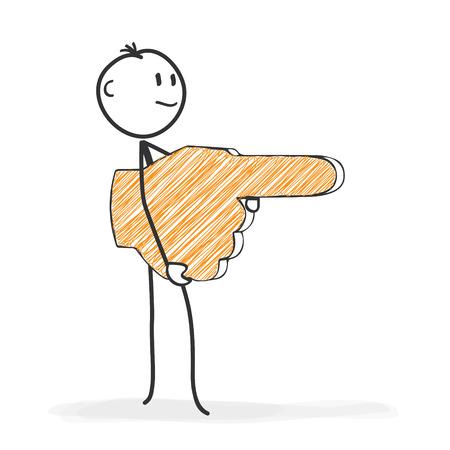 Figura del palillo en Acción - Stickman muestra la dirección con un icono de la mano - el índice. Dibujo del vector palo de hombre con fondo blanco y transparente, extracto tres sombra de color en el suelo.