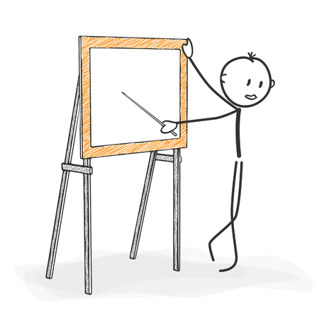 three colored: Stick Figure in Action - Stickman while Teaching in a Seminar. Next to a Chalkboard Icon. Stick Man Vector Drawing with White Background and Transparent, Abstract Three Colored Shadow on the Ground.
