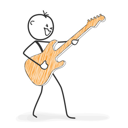 Stick Figure in Action - Stickman Rocking the Stage with a Guitar Icon. Stick Man Vector Drawing with White Background and Transparent, Abstract Three Colored Shadow on the Ground. 矢量图像