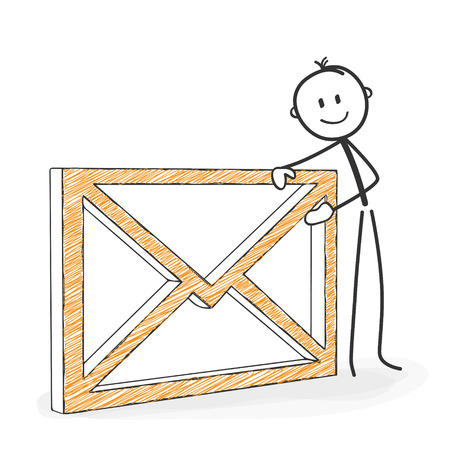 Stick Figure in Action - Stickman with an Envelope Icon. Symbolic eMail. Stick Man Vector Drawing with White Background and Transparent, Abstract Three Colored Shadow on the Ground. Illustration