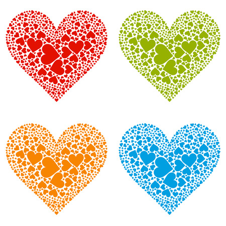 arranged: Abstract Arranged Red, Green, Blue and Orange Heart Shapes Collection - EPS 10 Vector Illustration Set