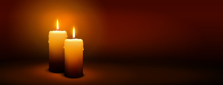 2nd Sunday of Advent - Second Candle with Warm Atmosphere - Candlelight, Panorama, Banner, Website Head Template