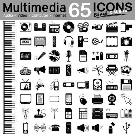 multimedia: 65 Black and White Multimedia Icons - Audio, Video, Computer and Internet - Vector Illustration