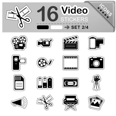 videocassette: 16 Iconos blancos y negros de vídeo - pegatinas - Símbolos - ilustración vectorial