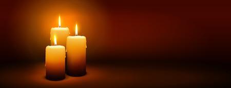 kerze: 3. Adventssonntag - Third Kerze mit warmer Atmosphäre - Kerzenlicht, Panorama, Spruchband, Internetseite Leiter Template Illustration