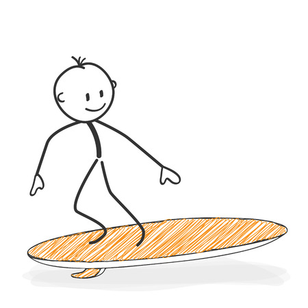 pantomime: Stick Figure in Action - Stickman On a Surfboard Icon. He has Fun. Stick Man Vector Drawing with White Background and Transparent, Abstract Three Colored Shadow on the Ground. Illustration