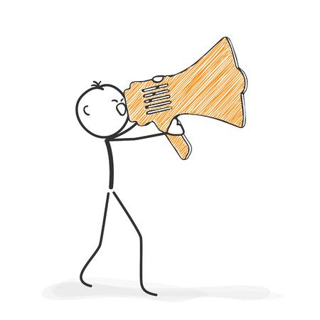 Cijfer van de stok in Actie - Stickman schreeuwen in een megafoon Icon. Stick Man Vector tekening met witte achtergrond en transparant, Abstract drie gekleurde schaduw op de grond.