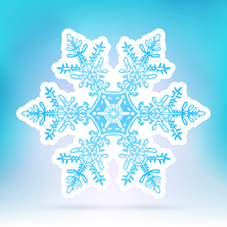 flakes: Abstract Snowflake Symbol with Ice Blue Background Gradient - Beautiful Filigree Snow Flake Icon Label with White Border - Seasonal Winter Design Sticker Illustration