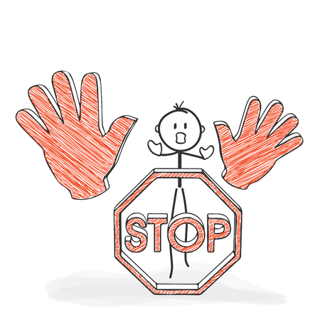 Stick Figure in Action - Stickman with a Stop Sign - Icon. Stick Man Vector Drawing with White Background and Transparent, Abstract Three Colored Shadow on the Ground.  イラスト・ベクター素材