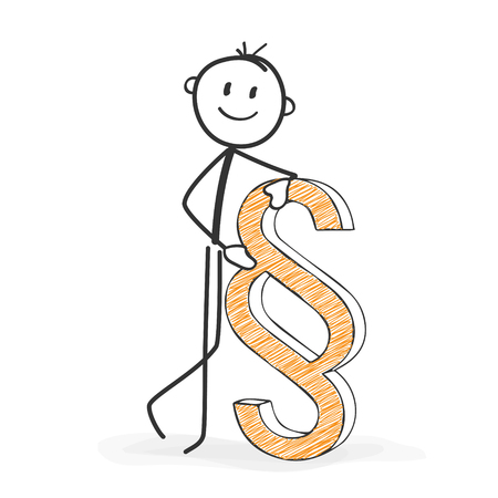 Stick Figure in Action - Stickman with a Paragraph Icon. Stick Man Vector Drawing with White Background and Transparent, Abstract Three Colored Shadow on the Ground. Illustration