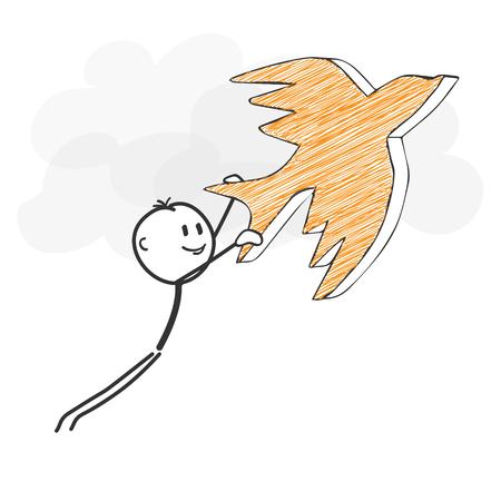 Stick Figure in actie - Stickman vliegen met een vogel-pictogram. Stick Man vectortekening met witte achtergrond en transparant, abstracte drie gekleurde schaduw op de grond. Stock Illustratie