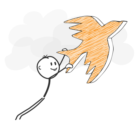 Stick Figure in Action - Stickman Flying with a Bird Icon. Stick Man Vector Drawing with White Background and Transparent, Abstract Three Colored Shadow on the Ground. Vettoriali