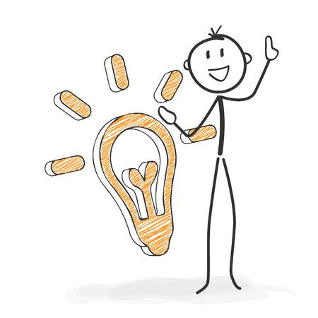 Cijfer van de stok in Actie - Stickman heeft een idee. Symbolische Light Bulb Icon. Stick Man Vector Tekenen met witte achtergrond en transparant, Abstract Drie Gekleurde schaduw op de grond.