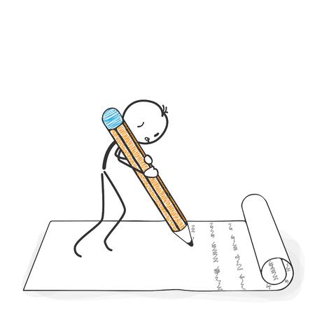 Stick Figure em ação - Stickman escreve uma carta com um ícone de lápis. Desenho de vetor de homem de vara com fundo branco e transparente, abstrato três sombra colorida no chão. Ilustración de vector