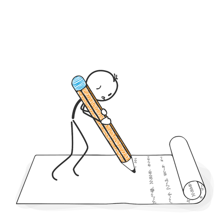 Stick Figure in Action - Stickman writes a letter with a Pencil Icon. Stick Man Vector Drawing with White Background and Transparent, Abstract Three Colored Shadow on the Ground.