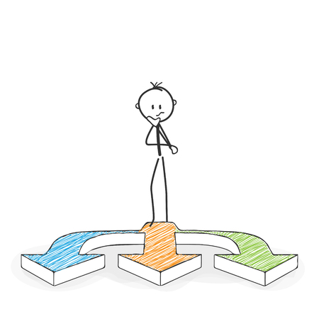 Stick Figure in Action - Stickman Has to Make a Decision. Three Arrows Icon. Stick Man Vector Drawing with White Background and Transparent, Abstract Three Colored Shadow on the Ground.