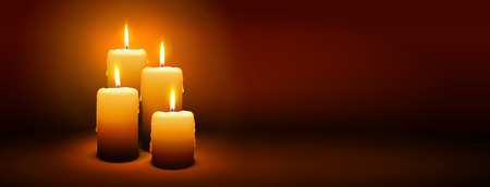 luz de velas: Cuarto Domingo de Adviento - Cuarta Vela con ambiente cálido - Luz de vela, Panorama, Pancarta, Plantilla Webs Director Vectores