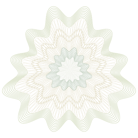 cachet: Guilloche Pattern Rosette for Certificate, Play Money or Other Security Papers - Vector Illustration