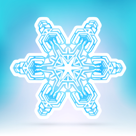 snow flake: Abstract Snowflake Symbol with Ice Blue Background Gradient - Beautiful Filigree Snow Flake Icon Label with White Border - Seasonal Winter Design Sticker Illustration
