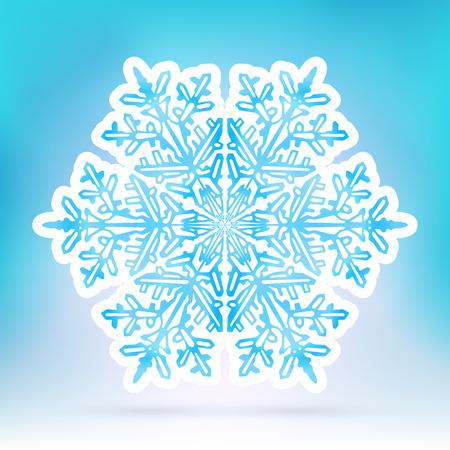 hexagonal: Abstract Snowflake Symbol with Ice Blue Background Gradient - Beautiful Filigree Snow Flake Icon Label with White Border - Seasonal Winter Design Sticker Illustration