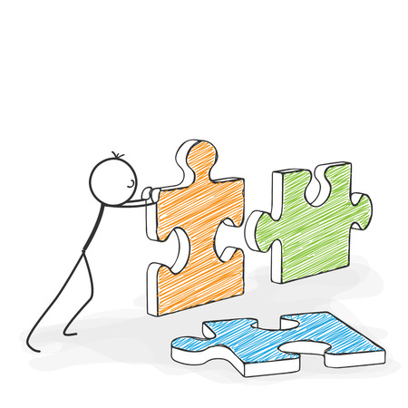 Stick Figure in Action - Stickman Pushes Puzzle Icons Together. Stick Man Vector Drawing with White Background and Transparent, Abstract Three Colored Shadow on the Ground.